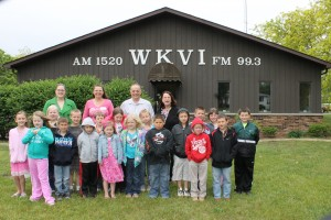 Students from Mrs. Short's first grade class at Knox Elementary School toured the WKVI studio Thursday afternoon.