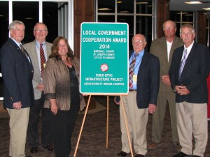 Representatives of Marshall County and St. Joseph County accept Local Government Cooperation Award