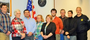 Council Member Justin Davis, President Wendy J.Hoppe, Council Member Josh Brown, Council Member Jane Ellen Felchuk, Clerk-Treasurer Alicia Collins, Council Member Nathan Bradley, Town Superintendent Marshall Hortsmann, Town Attorney Rachel Arndt , Town Marshal Douglas Vessely, not pictured is Fire Chief Joe Leszek. Photo by North Judson Town Photographer Peggy Bohac