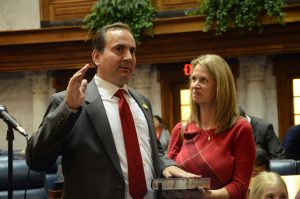Sen.-elect Mike Bohacek takes his oath of office. Photo provided